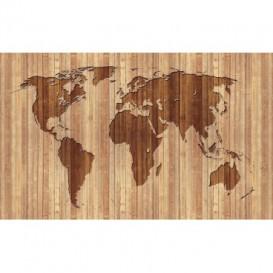 Fototapeta na zeď - FT3768 - Mapa světa - dřevěná