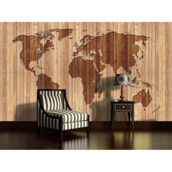 Fototapeta na stenu - FT3768 - Mapa sveta – drevená