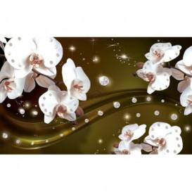 Fototapeta na stenu - FT3094 - Biele kvety na žltom pozadí