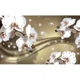 Fototapeta na stenu - FT3096 - Biele kvety na zlatom pozadí