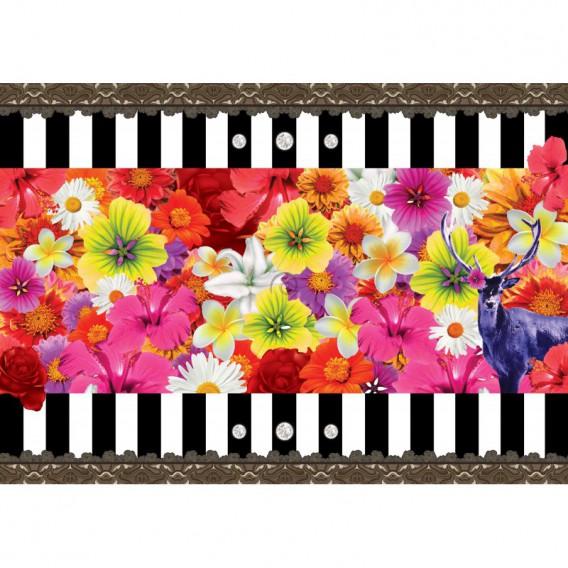 Fototapeta na stenu - FT4689 - Kvety na čiernobielom pozadí