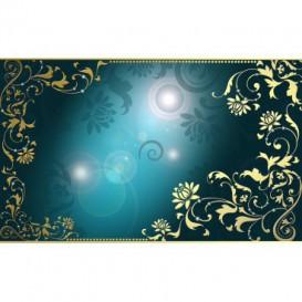 Fototapeta na stenu - FT4039 - Zlatý ornament na tyrkysovom pozadí
