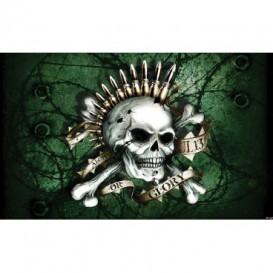 Fototapeta na stenu - FT4055 - Lebka s nábojmi – zelená