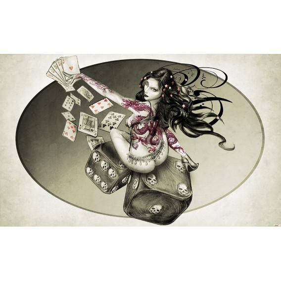 Fototapeta na stenu - FT4059 - Hráčske kocky – žena sivá