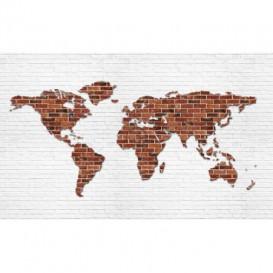 Fototapeta na stenu - FT2844 - Mapa sveta – tehlová