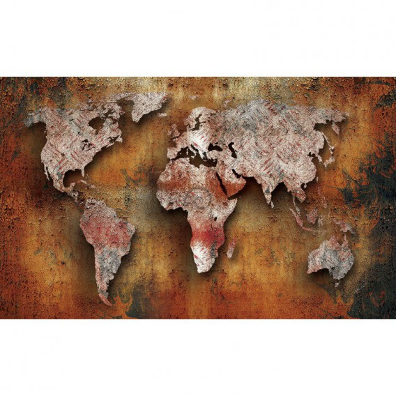 Fototapeta na stenu - FT3191 - Mapa sveta – hrdzavá