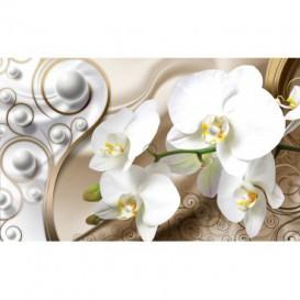 Fototapeta na stenu - FT4771 - Orchidea a bielo zlatý ornament