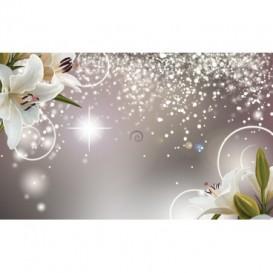 Fototapeta na stenu - FT4858 - Kvety na striebornom pozadí