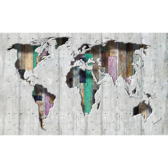 Fototapeta na stenu - FT4907 - Mapa sveta - farebné drevo