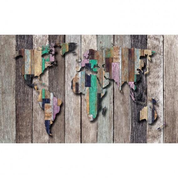 Fototapeta na stenu - FT4908 - Mapa sveta - farebné drevo