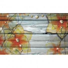 Fototapeta na stenu - FT5239 - Kvety na drevenom pozadí