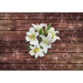 Fototapeta na stenu - FT5262 - Biele kvety na drevenom pozadí