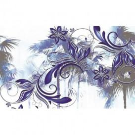 Fototapeta na stenu - FT0453 - Kreslené modrofialové kvety