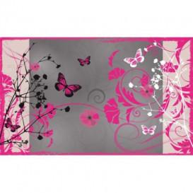 Fototapeta na stenu - FT0255 - Ružové kvety a motýle