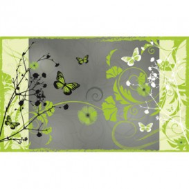 Fototapeta na stenu - FT0257 - Zelené kvety a motýle