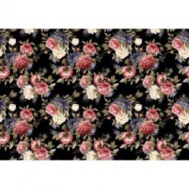 Fototapeta na stenu - FT5433 - Červené barokové ruže - čierny podklad