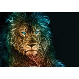 Fototapeta na stenu - FT5435 - Abstraktný lev - žlto modrý