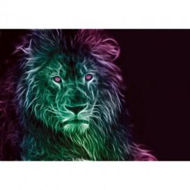 Fototapeta na stenu - FT5436 - Abstraktný lev - zeleno fialový
