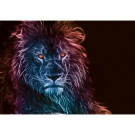 Fototapeta na stenu - FT5437 - Abstraktný lev - modro fialový