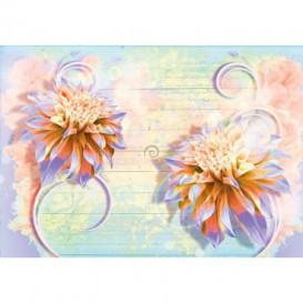 Fototapeta na stenu - FT5438 - Abstraktné fialovo oranžové kvety