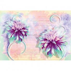 Fototapeta na stenu - FT5439 - Abstraktné fialovo modré kvety