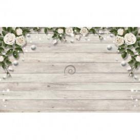 Fototapeta na stenu - FT5468 - Drevená stena s kvetmi