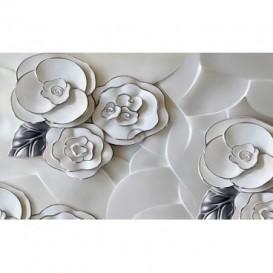 Fototapeta na stenu - FT5481 - Porcelánové kvety - strieborný lem