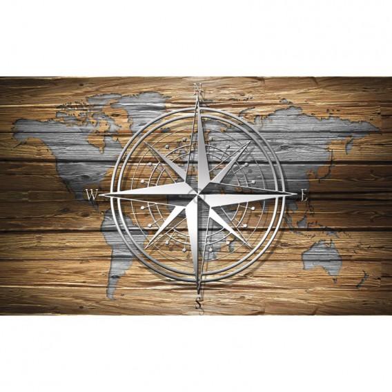 Fototapeta na stenu - FT5486 - Mapa na drevenej stene s kompasom