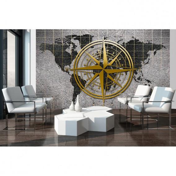 Fototapeta na stenu - FT5487 - Mapa na betónovej stene s kompasom