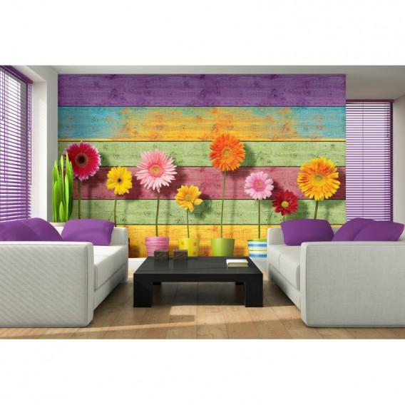 Fototapeta na stenu - FT5490 - Farebná drevená stena a gerbery