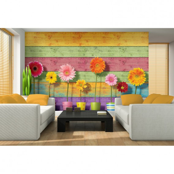 Fototapeta na stenu - FT5493 - Farebná drevená stena a gerbery