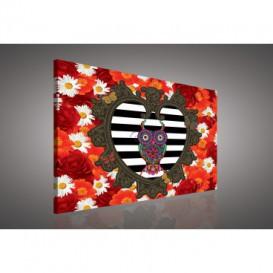Obraz na plátne obdĺžník - OB0581 - Farebné kvety a sova