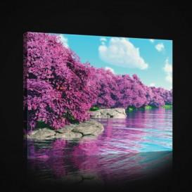 Obraz na plátne obdĺžnik - OB0926 - Ružové stromy