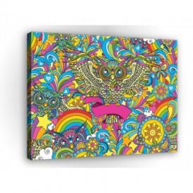 Obraz na plátne obdĺžnik - OB1148 - Farebná sova