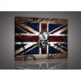 Obraz na plátne obdĺžnik - OB1425 - Anglická vlajka s lebkou