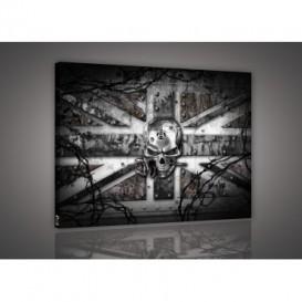Obraz na plátne obdĺžnik - OB1426 - Anglická vlajka s lebkou