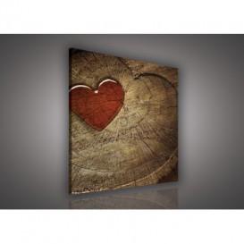 Obraz na plátne štvorec - OB1851 - Drevené srdce