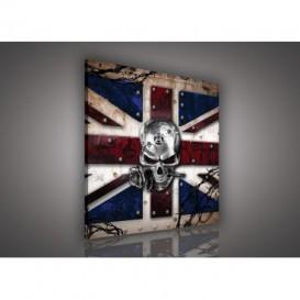Obraz na plátne štvorec - OB2105 - Anglická vlajka s lebkou