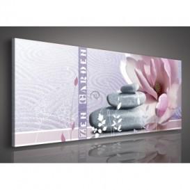Obraz na plátne panoráma - OB2193 - Ružový kvet a kamienky