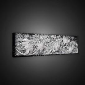Obraz na plátne panoráma - OB2199 - Abstraktné sivé kvety