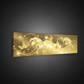 Obraz na plátne panoráma - OB2200 - Abstraktné zlaté kvety
