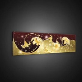 Obraz na plátne panoráma - OB2201 - Abstraktné bordovo zlaté kvety