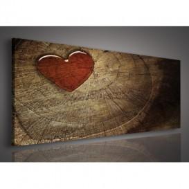 Obraz na plátne panoráma - OB2207 - Drevené srdce