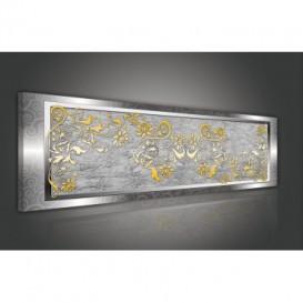 Obraz na plátne panoráma - OB2211 - Zlatý vzor v striebornom ráme