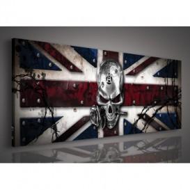 Obraz na plátne panoráma - OB2260 - Anglická vlajka s lebkou