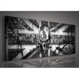 Obraz na plátne panoráma - OB2261 - Anglická vlajka s lebkou