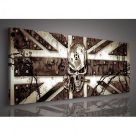 Obraz na plátne panoráma - OB2262 - Alchemy - Anglická vlajka s lebkou