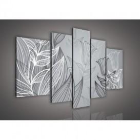 Obraz na plátne viacdielny - OB2340 - Čiernobiele kvety