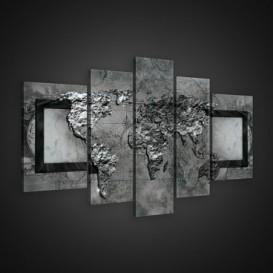 Obraz na plátne viacdielny - OB2400 - Mapa sveta sivá