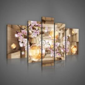 Obraz na plátne viacdielny - OB2419 - Ružové kvety